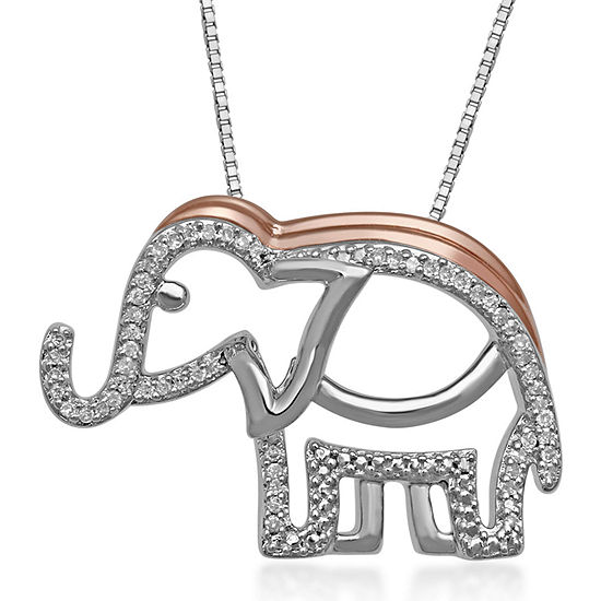 1/10 CT. T.W. Diamond Sterling Silver & 14K Rose Gold Over Silver Elephant Pendant Necklace