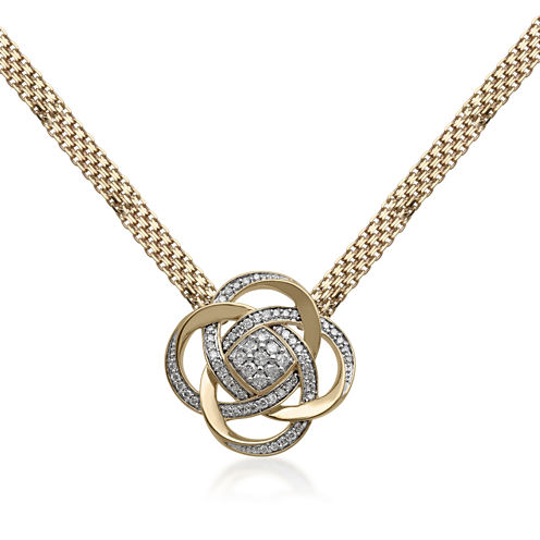 3/4 CT. T.W. Diamond 14K Yellow Gold Over Silver Necklace