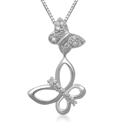 1/10 CT. T.W. Diamond Sterling Silver Double Butterfly Pendant Necklace