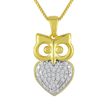 1/10 CT. T.W. Diamond 14K Yellow Gold Sterling Silver Owl Pendant Necklace