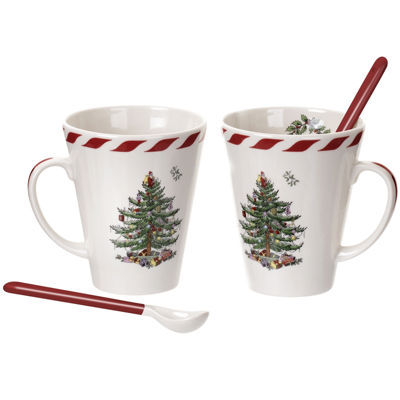 Spode® Christmas Tree Set of 2 Peppermint Mugs with Spoons