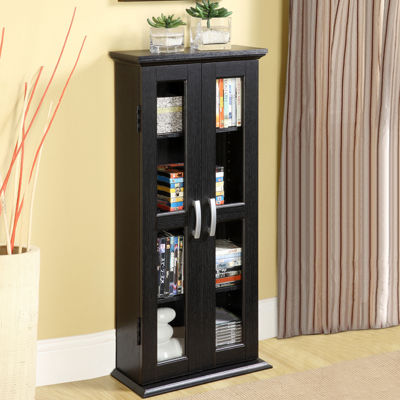 "Verbal 41"" Black Wood Media Cabinet"