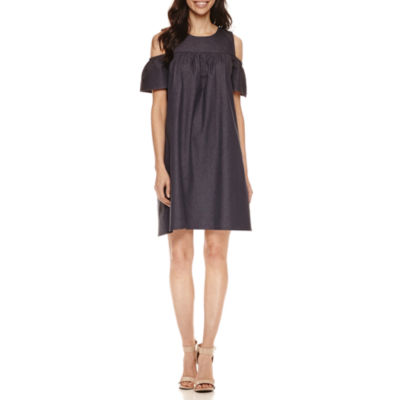 London Times Cold Shoulder Shift Dress