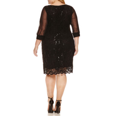 Tiana B 3/4 Sleeve Lace Sequin Sheath Dress-Plus