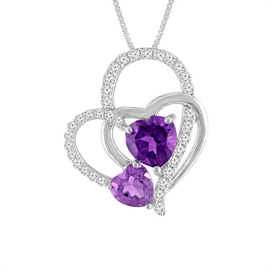 Lab Created Amethyst White Sapphire Sterling Silver Triple Interlocking Heart Pendant Necklace