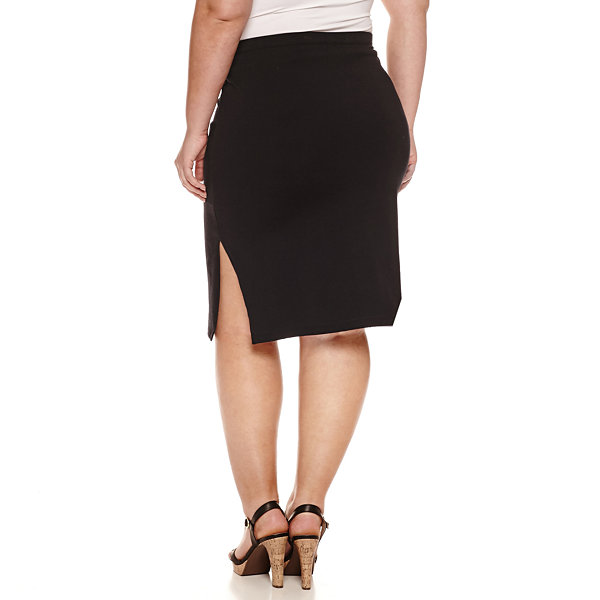 Decree Side Slit Bodycon Skirt - Juniors Plus