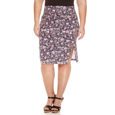Decree Side Slit Pencil Skirt - Juniors Plus