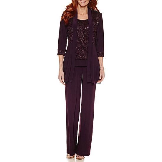 R&M Richards 3/4 Sleeve Lace Jacket Pant Set