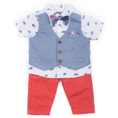 Little Lass 3-pc. Pattern Pant Set Baby Boys
