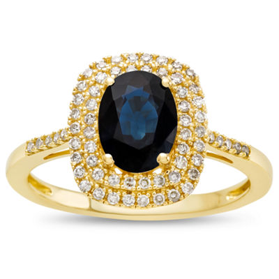 Womens 10K Gold Genuine Blue Sapphire & 1 3/8 CT. T.W. Diamond Cocktail Ring