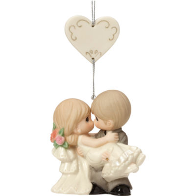 """Precious Moments  """"On The Threshold Of A Lifetime Of Happiness""""  Bisque Porcelain Ornament  #163010"""