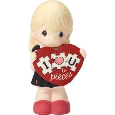 "Precious Moments  ""I Love You To Pieces""  Bisque Porcelain Figurine  Girl  #163001"