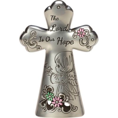 """Precious Moments  """"The Lord Is Our Hope""""  MiniTabletop Cross  Zinc Alloy  #163423"""