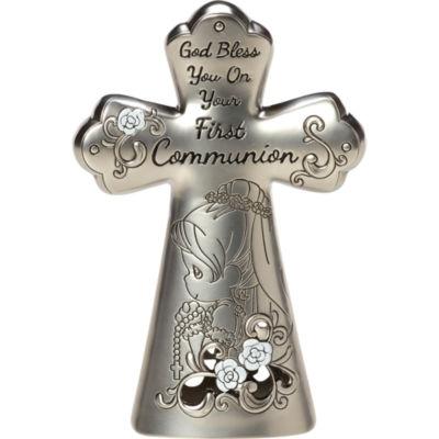 "Precious Moments  ""First Communion Mini TabletopCross""  Zinc Alloy  Girl  #163511"