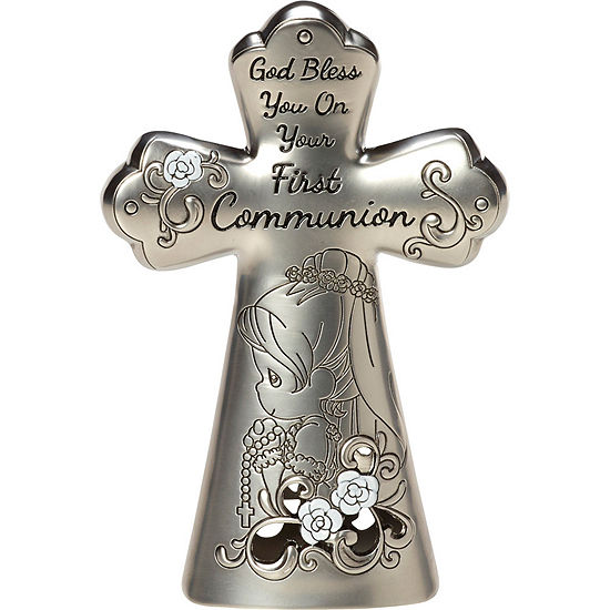 "Precious Moments ""First Communion Mini Tabletop Cross"" Zinc Alloy Girl #163511"