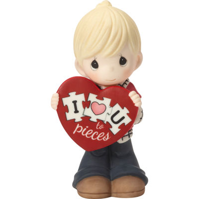 "Precious Moments  ""I Love You To Pieces""  Bisque Porcelain Figurine  Boy  #163002"