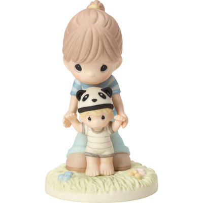 "Precious Moments  ""Behind You From Your Beary First Step""  Bisque Porcelain Figurine  #163013"