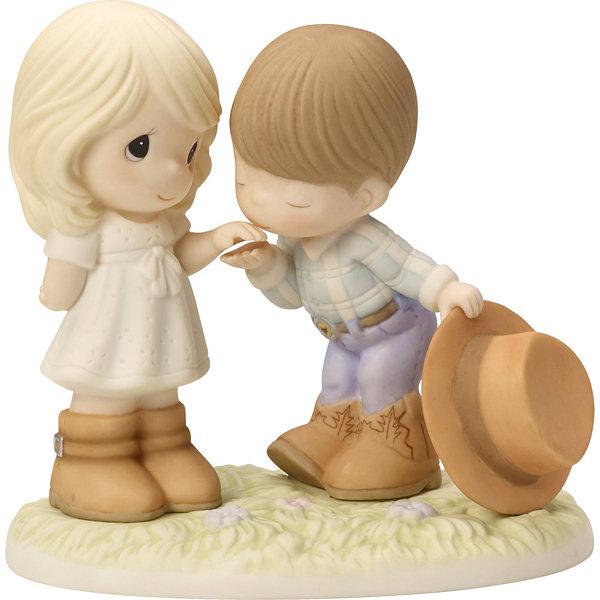 "Precious Moments  ""Would You Be My Pardner""  Bisque Porcelain Figurine  #163004"