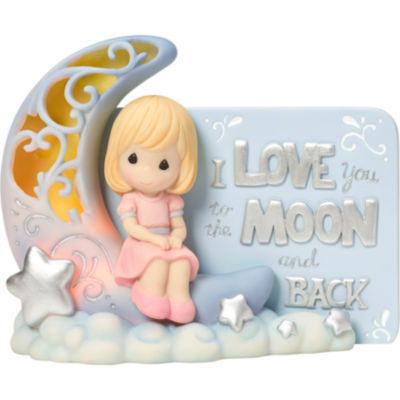 """Precious Moments  """"I Love You To The Moon And Back""""  LED Light  Resin Figurine  #163408"""