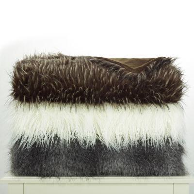 West Park Faux Fur Acrylic Reversible Throw