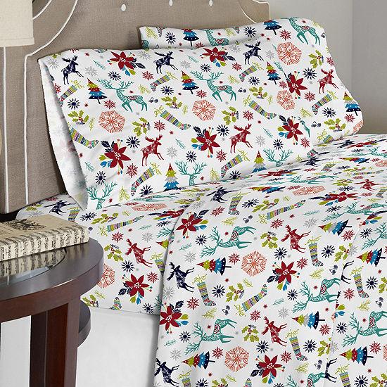 Celeste Home 190 GSM Holiday Joy Cotton Flannel Sheet Set