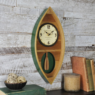Wood Canoe Wall Clock-80001