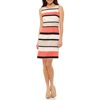 Byer California Sleeveless Stripe Sheath Dress-Petites