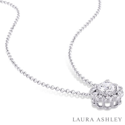 Laura Ashley Womens 1/2 CT. T.W. Genuine White Diamond 10K Gold Pendant Necklace