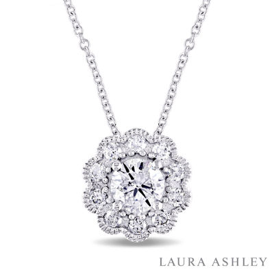 Laura Asley Womens 3/4 CT. T.W. Genuine White Diamond 10K Gold Pendant Necklace