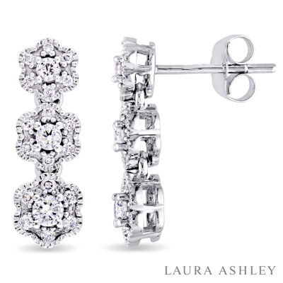 Laura Asley 1/2 CT. T.W. Genuine White Diamond 10K Gold 17.9mm Stud Earrings