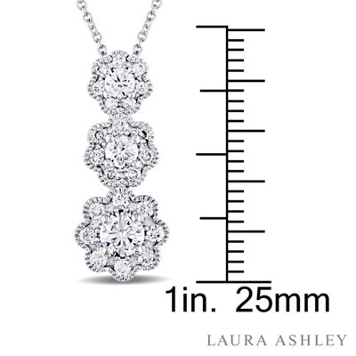 Laura Ashley Womens 1 CT. T.W. Genuine White Diamond 10K Gold Pendant Necklace