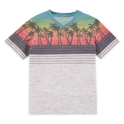 Arizona Short Sleeve V Neck T-Shirt-Big Kid Boys Husky