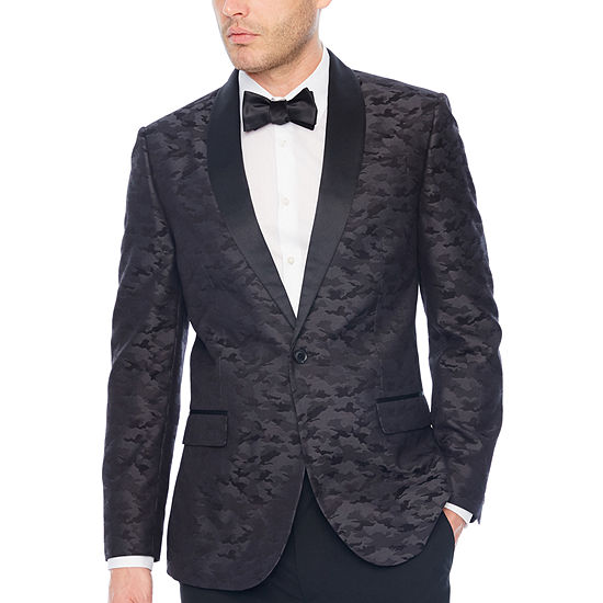 JF J.Ferrar Camouflage Slim Fit Tuxedo Jacket - Slim