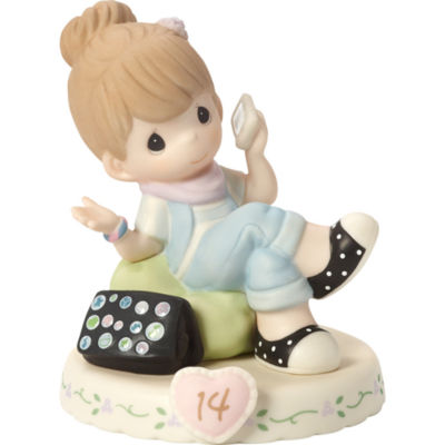 "Precious Moments  ""Growing In Grace  Age 14""Bisque Porcelain Figurine  Brunette Girl  #162013B"