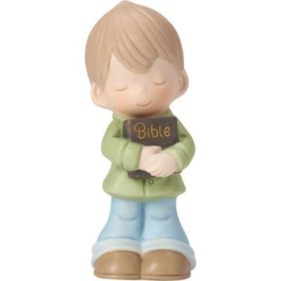 "Precious Moments  ""Let His Words Guide You""  Bisque Porcelain Figurine  Boy  #162021"