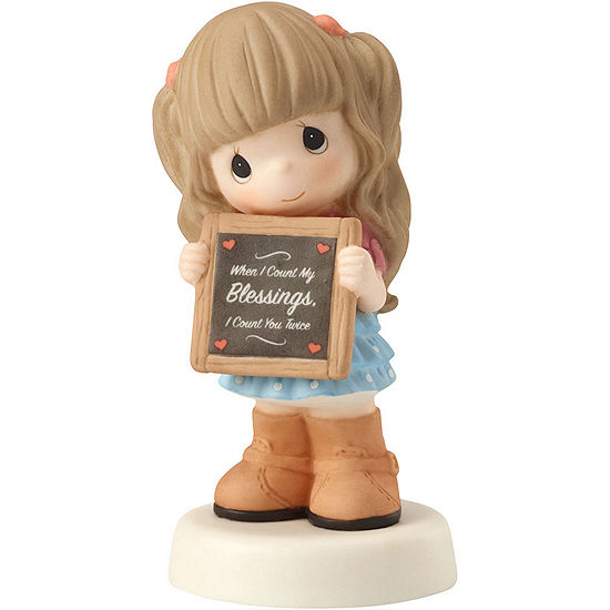 Precious Moments Thank You Gifts When I Count My Blessings I Count You Twice Bisque Porcelain Figurine 162017