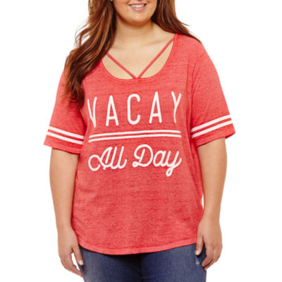 "Short Sleeve ""Vacay All Day"" Graphic T-Shirt- Juniors Plus"
