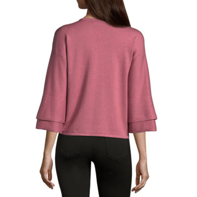 89th & Madison Tiered Sleeve Round Neck Pullover Sweater