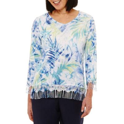 Alfred Dunner Bonita Springs Womens V Neck 3/4 Sleeve Pullover Sweater