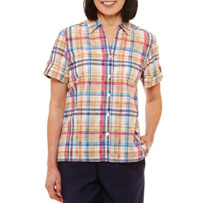Alfred Dunner Classics Relaxed Fit Short Sleeve Button-Front Shirt