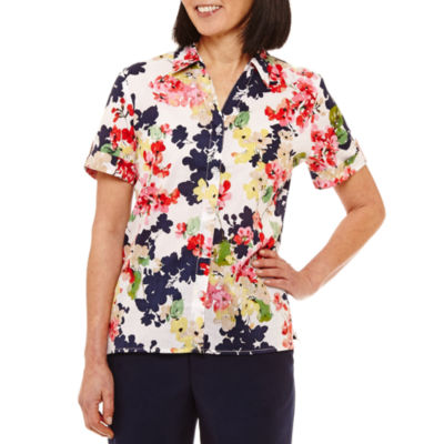 Alfred Dunner Classics Short Sleeve Button-Front Shirt