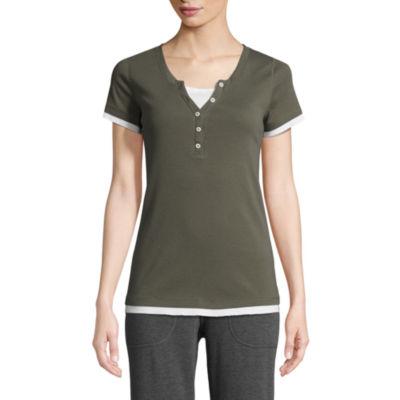St. John's Bay Active Short Sleeve Y Neck T-Shirt-Womens