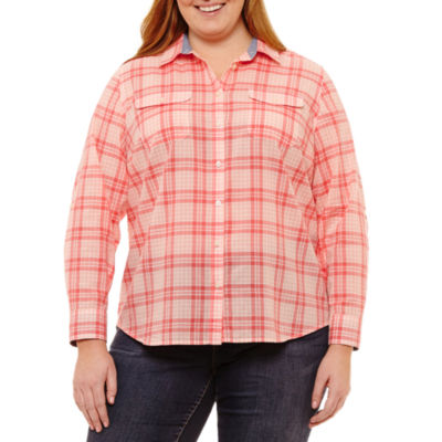 St. John's Bay® Roll-Tab Long Sleeve Two Pocket Campshirt - Plus