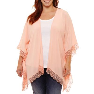 St. John's Bay® Short Sleeve Lace Trimmed Kimono - Plus