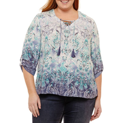 St. John's Bay® 3/4 Sleeve Printed Lace Up Blouse - Plus