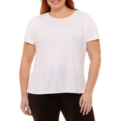 Worthington Short Sleeve Scoop Neck T-Shirt - Plus