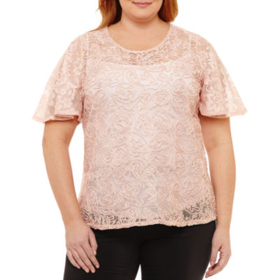 Worthington Short Sleeve Scoop Neck Knit Blouse - Plus