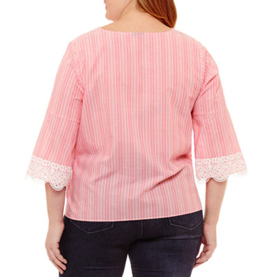 a.n.a 3/4 Sleeve Lace Up Woven Stripe Blouse - Plus