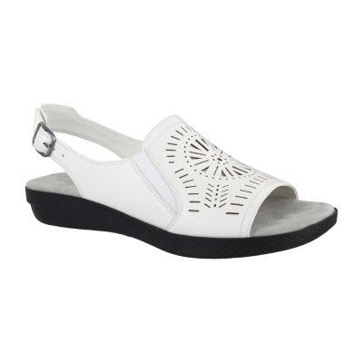 Easy Street Womens Rose Adjustable Strap Flat Sandals