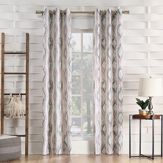 No 918 Valerie Santiago Ikat Ogee Light-Filtering Grommet-Top Single Curtain Panel